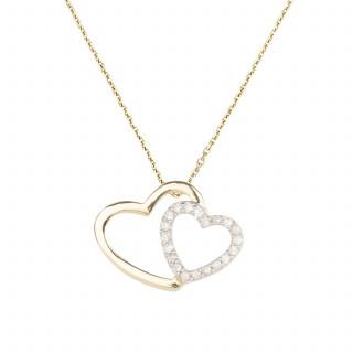 Pendentif coeurs Or Jaune et Diamant 0,11 carat TWO EVER