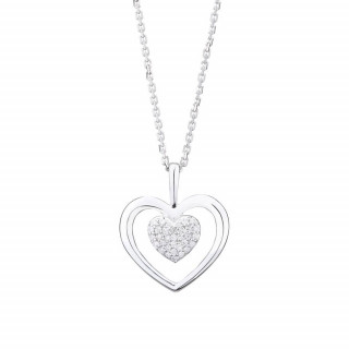 Pendentif Or Blanc et Diamants 0,06 carat COEUR TENDRESSE