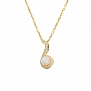 Pendentif Or Jaune et perle blanche Ambiante + Chaîne offerte
