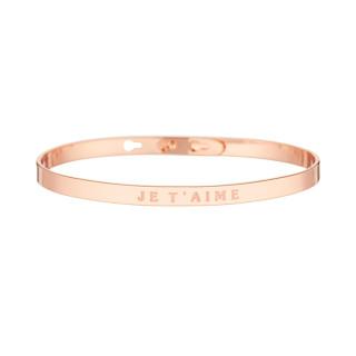 JE T'AIME bracelet jonc rosé à message