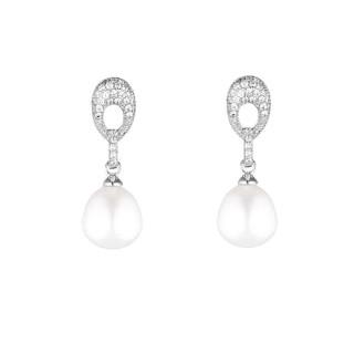 Boucles d'oreilles argent et perles de cultures blanches et oxydes de zirconium Marvella