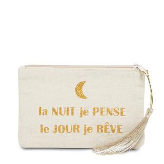 Petite pochette à message beige LA NUIT JE PENSE LE JOUR JE RÊVE doré