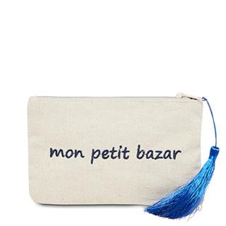 Petite pochette à message beige MON PETIT BAZAR bleue marine
