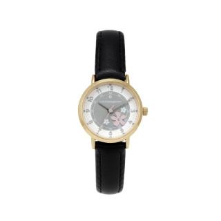 Montre Fille LuluCastagnette FLEUR Analogique Cadran blanc  Bracelet en cuir noir