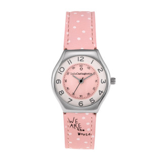 Montre Fille LuluCastagnette MINI STAR Analogique Cadran blanc et rose  Bracelet en cuir motif