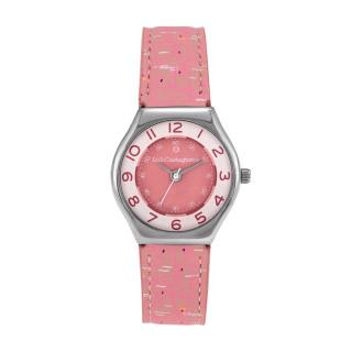 Montre Fille LuluCastagnette MINI STAR en cuir rose à motifs