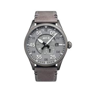 Montre Homme AVI-8 SPITFIRE Automatique Cadran acier gris  Bracelet acier + Bracelet cuir