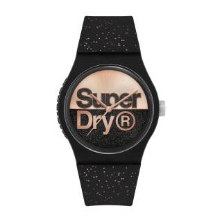 Montre Unisexe Superdry URBAN GLITTER BRAND Analogique Cadran noir et doré rose  Bracelet en silicone à motifs