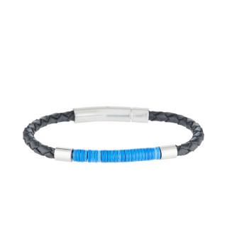 Bracelet Homme en acier, cuir tressé et perles disques