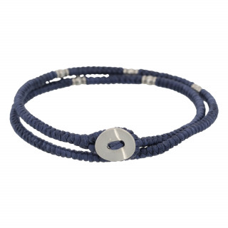 Bracelet Homme double cordon, perles et bouton argenté