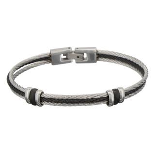 Bracelet Homme triple cable acier Bicolore Noir et Gris ZERKO