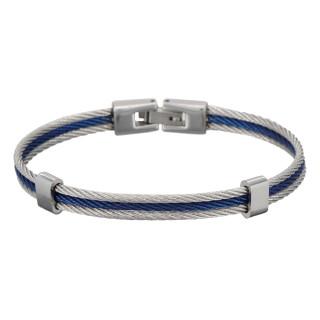 Bracelet Homme triple cable acier Bicolore Bleu et Gris DAIKO