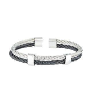 Bracelet Homme double cable acier Bicolore Noir et Gris EDEN