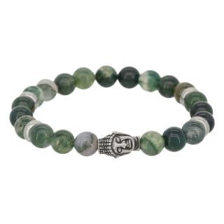 Bracelet Homme en perles de pierre et détail bouddha