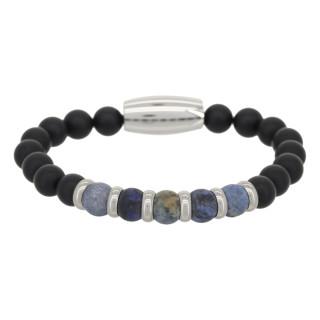 Bracelet Homme perles de pierre et acier