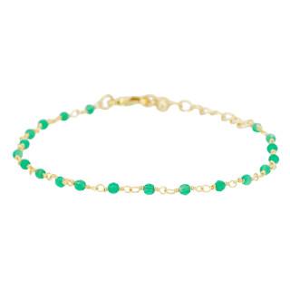 Bracelet doré orné de jade verte