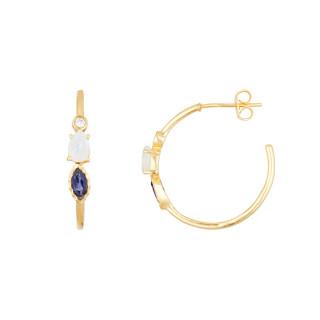 Boucles d'oreilles dorées ornées de iolite et pierre de lune