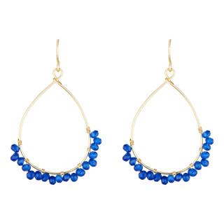 Boucles d'oreilles dorées ornées de jade bleue