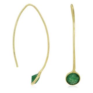 Boucles d'oreilles dorées ornées d'aventurine verte