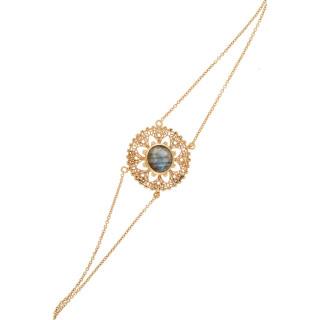 Bracelet doré orné de labradorite