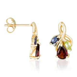 Boucles d'oreilles Or Jaune Diamant et Pierre précieuses