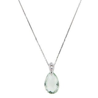 Pendentif Or Blanc Diamant et Améthyste