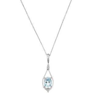 Pendentif Or Blanc Diamant et Topaze