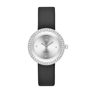 Montre Femme Juliette Diamants 0,012 carats - Cadran blanc Bracelet cuir noir