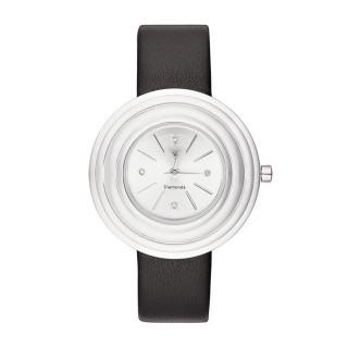 Montre Femme Romane Diamants 0,012 carats - Cadran argenté Bracelet cuir noir