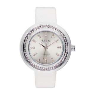 Muse - Montre Femme argenté Mundi - bracelet cuir blanc