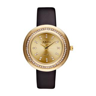 Muse - Montre Femme doré Mundi - bracelet cuir noir