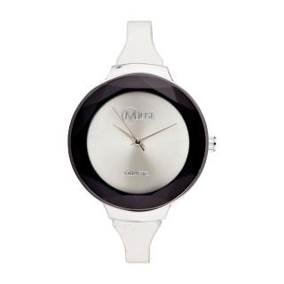 Muse - Montre Femme argenté La facette - bracelet cuir blanc