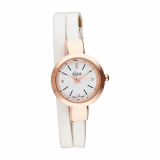 Muse - Montre Femme Elysée - boîtier rosé bracelet blanc