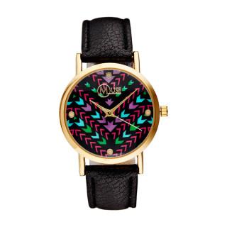 Muse - Montre Femme doré, petits motifs multicolores Manille - bracelet noir