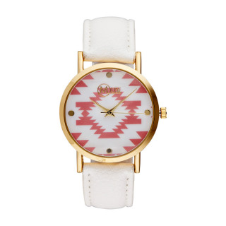 Muse - Montre Femme doré Manille - cadran blanc rose bracelet blanc
