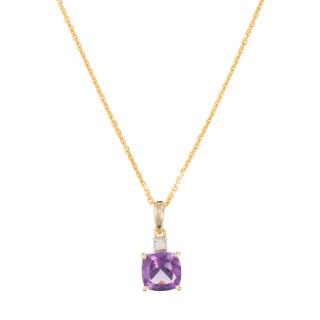 Pendentif Or Jaune Diamant et Améthyste