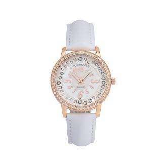 Torrente - Montre Glendale Cadran Blanc - Boîtier Acier plaqué Or Rose - Bracelet Cuir Blanc  - Diamants 0.01 carats Femme