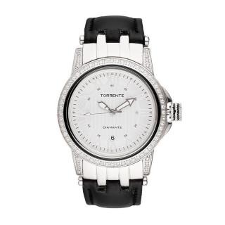 Torrente - Montre Magnetic Cadran Blanc - Boîtier Acier - Bracelet Cuir Noir - Diamants 0.01 carats Femme