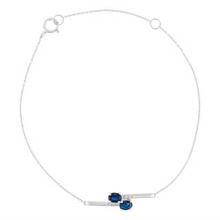 Bracelet Or Blanc Diamant et Saphir