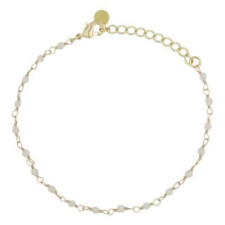 Bracelet doré orné de jade blanche