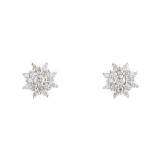 Boucles d'oreille Or Blanc 375 et Diamants