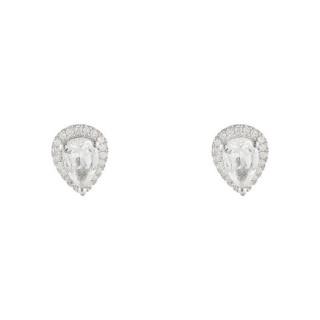 Boucles d'oreille Or Blanc 375 Diamants et Topaze Blanche