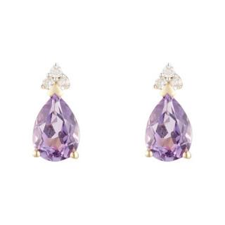 Boucles d'oreille Or Jaune 375 Diamants et Améthyste