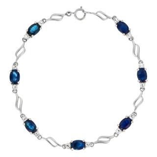 Bracelet Or Blanc 375 Topaze et Saphir