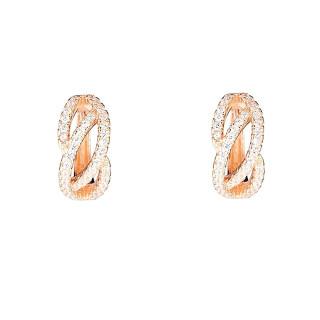 Boucles d'oreilles vermeil rose et oxydes de zirconium Créole Douce Vague