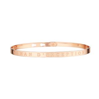 MAMAN D'EXCEPTION bracelet jonc rosé à message