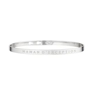 MAMAN D'EXCEPTION bracelet jonc argenté à message