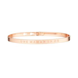 UNE MAMAN EN OR bracelet jonc rosé à message