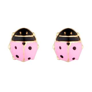 Boucles d'oreilles or jaune enfant COCCINELLE ROSÉE