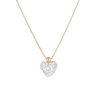 Collier Or Jaune et oxydes de zirconium Blancs Coeur de Crystal